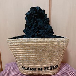 メゾンドフルール(Maison de FLEUR)の【美品】♡メゾンドフルール♡フリルハンドルかごバッグ♡ブラック♡(かごバッグ/ストローバッグ)