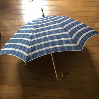 新品★45R 日傘★インディゴ 藍染 チェック★麻