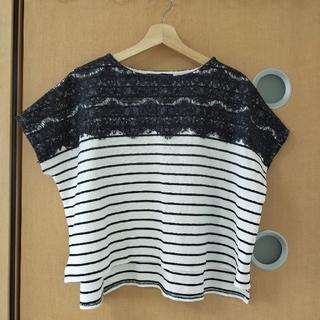 ブリスポイント(BLISS POINT)の【美品】ブリスポイント♡レース×ボーダートップス(Tシャツ(半袖/袖なし))