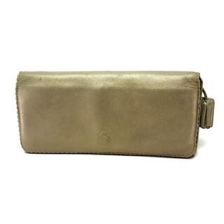 LOEWE - ロエベ アナグラム 2つ折り長財布(小銭入れあり) レザー ゴールド レディース