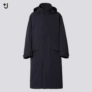 UNIQLO - UNIQLO+J オーバーサイズフーデットロングコート ブラック L
