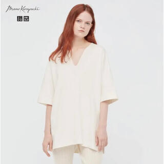 UNIQLO - ユニクロ mame マメクロゴウチ コットンオーバーサイズT 5分袖 S  白