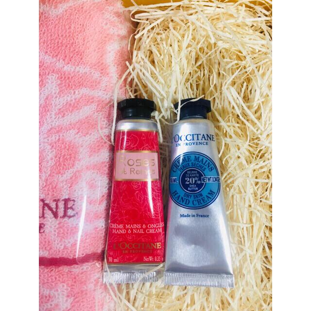 L'OCCITANE(ロクシタン)の美品 ロクシタン ギフトセット シア&ローズミニハンドクリーム+ハンカチギフト コスメ/美容のボディケア(ハンドクリーム)の商品写真