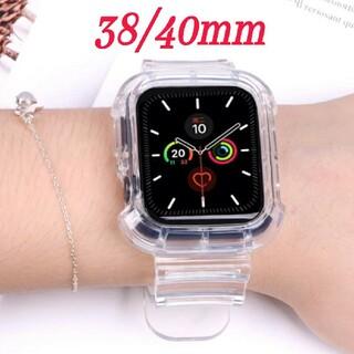 Apple Watch クリア 透明 スケルトン ベルト 38/40mm c(腕時計)