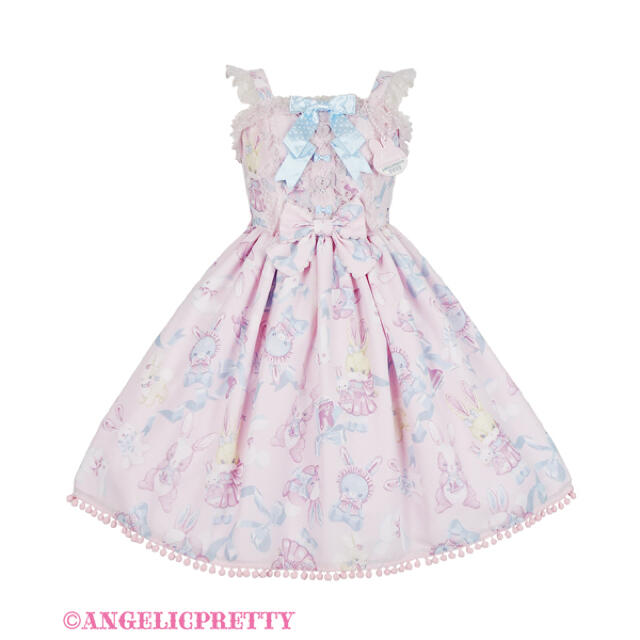 Angelic Pretty(アンジェリックプリティー)のangelic pretty Moco moco Bunnysジャンパースカート レディースのワンピース(ひざ丈ワンピース)の商品写真