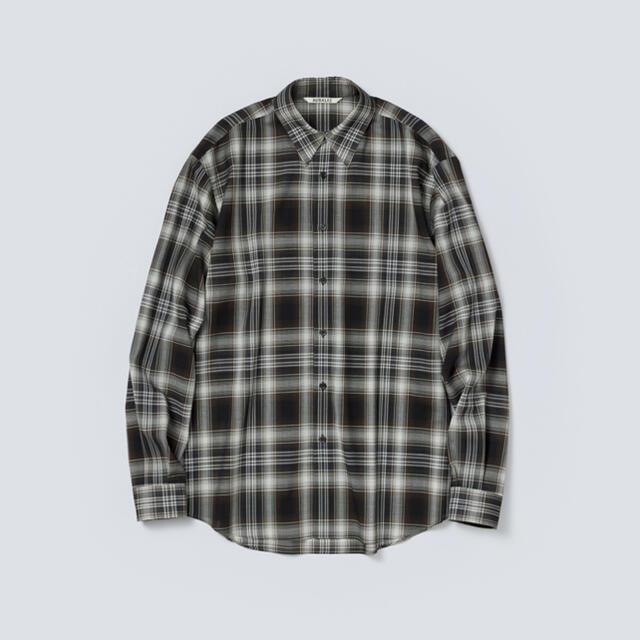 COMOLI(コモリ)のAURALEE 21AW ウールチェックシャツ ブラック サイズ4 新品未使用 メンズのトップス(シャツ)の商品写真