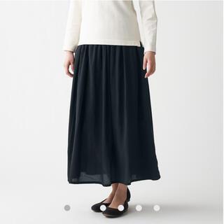 ムジルシリョウヒン(MUJI (無印良品))の新品   無印良品 洗いざらし 強撚 ギャザー スカート M~L・黒(ロングスカート)