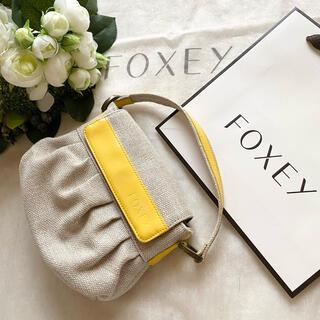 フォクシー(FOXEY)のFOXEY✨リネンミニバッグ(ハンドバッグ)