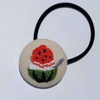 【セール】くるみボタン ヘアゴム すいか かき氷 夏 ハンドメイド 刺繍