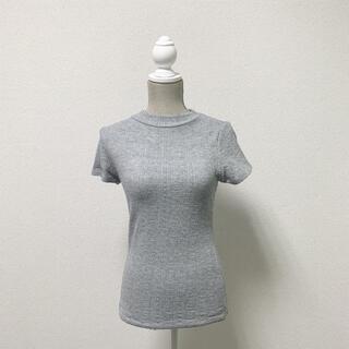 ジーユー(GU)のGU ジーユー トップス グレー ニット 半袖 (ニット/セーター)