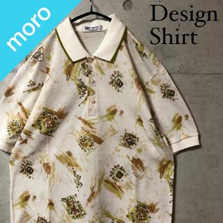 ダンロップ(DUNLOP)のDUNLOP ダンロップ ポロシャツ 半袖 総柄 オーバーサイズ ゆるだぼ 白(ポロシャツ)
