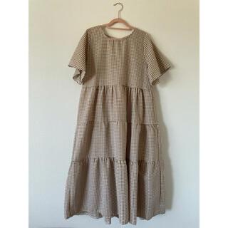 ギンガムチェック ティアード ロングワンピース ベージュ 韓国ファッション(ロングワンピース/マキシワンピース)