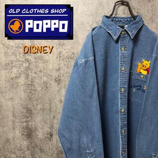 Disney - ディズニー☆くまのプーさんポケットキャラ刺繍ロゴ畝入りデニムシャツ 90s