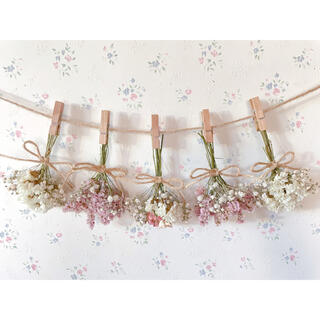 淡い3種のバラとかすみ草のホワイトピンクドライフラワーガーランド♡スワッグ♡(ドライフラワー)