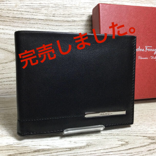 Salvatore Ferragamo - フェラガモ ブラックレザー 折り財布 美品 付属品付