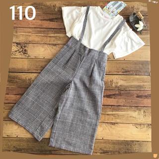 【110】リンカ&アンナ グレンチェック パンツ + 袖フリルTシャツ(パンツ/スパッツ)