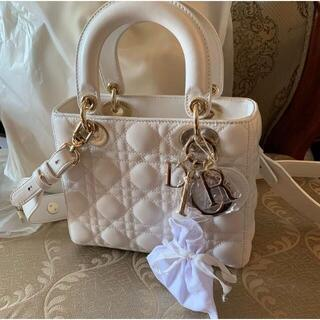 Dior - 美品Dior レディディオール 白 ホワイト ハンドバッグ ショルダーバッグ