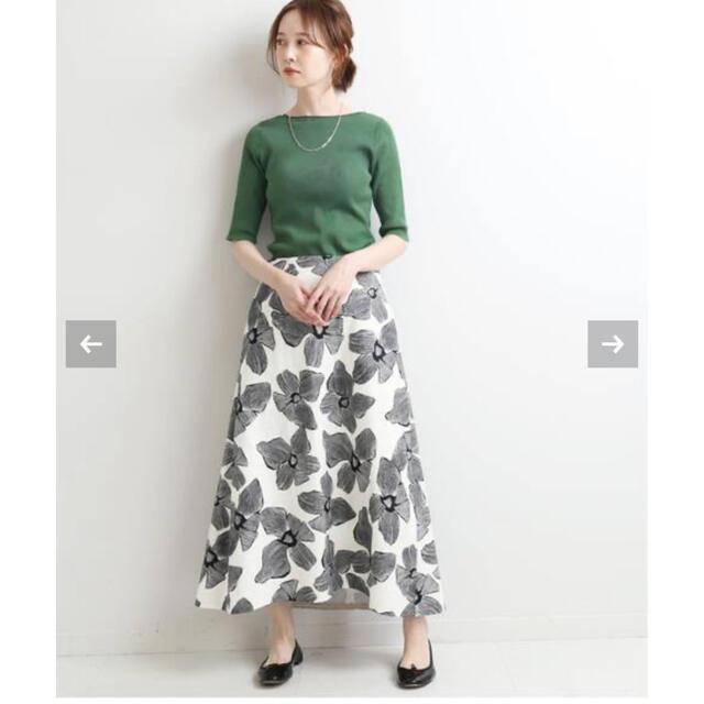 IENA(イエナ)のIENA 2021 モノトーンフラワー綿麻スカート レディースのスカート(ロングスカート)の商品写真