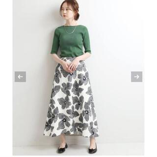 IENA - IENA 2021 モノトーンフラワー綿麻スカート