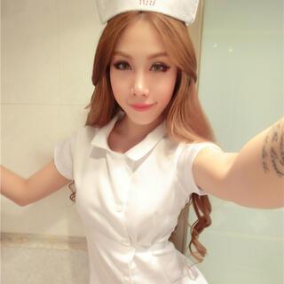 セクシー ナース服 コスチューム 看護師 看護婦 ワンピース ホワイト3点セット(衣装一式)