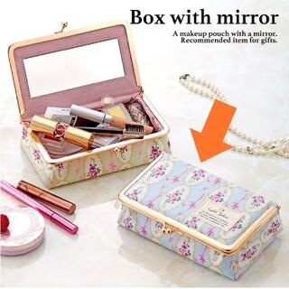 【未使用 半額以下】がま口 ミラー付き BOX 鏡付き 化粧ポーチ コスメポーチ