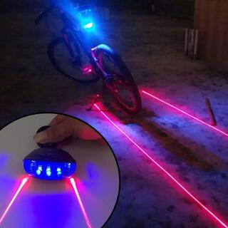【送料無料.電池付属】自転車防水LEDテールランプブルー(5LED+2レーザー)