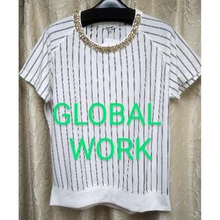 グローバルワーク(GLOBAL WORK)のグローバルワーク 新品 トップス 白 吸水速乾 ストライプ 半袖 夏 カットソー(Tシャツ(半袖/袖なし))
