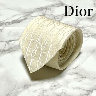 クリスチャンディオール(Christian Dior)の【美品❗️】クリスチャンディオール トロッター柄 ホワイト ロゴ総柄 ネクタイ(ネクタイ)