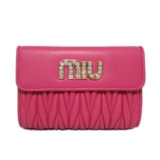 ミュウミュウ(miumiu)のミュウミュウ 二つ折財布 5ML225 MAGENTA(財布)