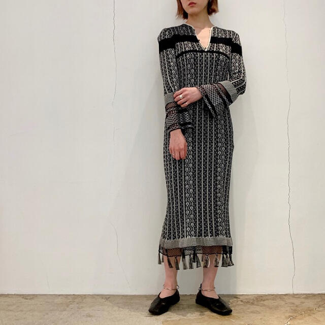mame(マメ)のmame ☆ rib jacquard knit dress レディースのワンピース(ロングワンピース/マキシワンピース)の商品写真
