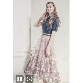 axes femme - 希少☆axes femme グランデチュール刺繍スカート ライトピンク