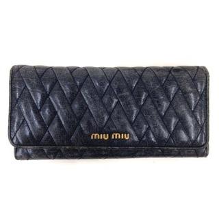 ミュウミュウ(miumiu)のミュウミュウ miumiu 長財布 キルティング レザー 紺 ネイビー サイフ(財布)