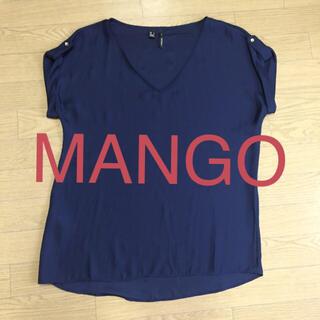 マンゴ(MANGO)のMANGO  紺色ブラウス 美品❣️(シャツ/ブラウス(半袖/袖なし))