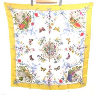 グッチ(Gucci)のグッチ オールド ヴィンテージ 花柄 蝶 フラワー シルク100% スカーフ(バンダナ/スカーフ)