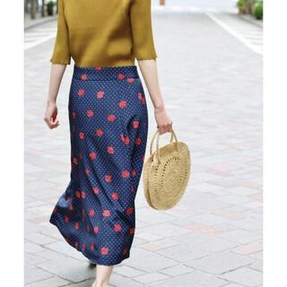 IENA - クリーニング済 IENA ドット前ボタンスカート ネイビー 花柄 サイズ40