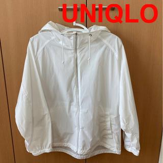 ユニクロ(UNIQLO)の試着のみ美品! UNIQLO オーバーサイズ パーカー ホワイト(ナイロンジャケット)