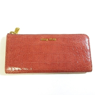 ミュウミュウ(miumiu)のミュウミュウ 長財布 L字ジップ クロコ型押し レザー 小銭入れあり(財布)