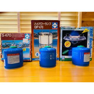【送料込・レトロ】キャンピングガス ランタン・バーナー3点 未使用ガス缶3個(ライト/ランタン)
