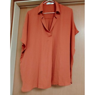 EMSEXCITE - 美品☆スキッパーシアーシャツ オレンジ Mサイズ