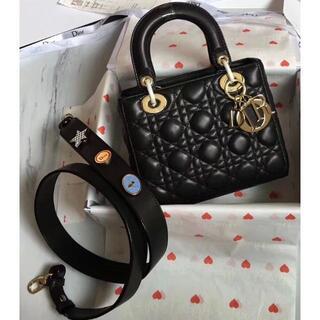 ディオール(Dior)のDior レディディオール ハンドバッグ ショルダー 黒 ブラック ラムスキン(ショルダーバッグ)