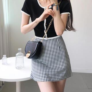 GOGOSING - 【予約商品】Aライン シンプル ギンガムチェック ミニスカート 韓国