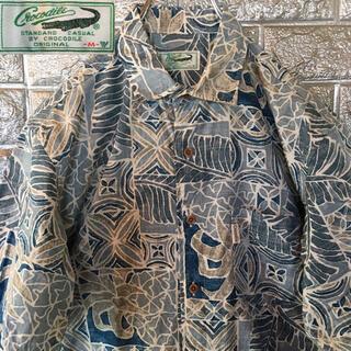 クロコダイル(Crocodile)のクロコダイル レインスプーナー アロハシャツ 半袖シャツ 総柄 コットン 裏地使(シャツ)