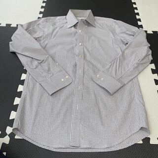 GU - シャツ メンズ グレー チェック ワイシャツ GU   Mサイズ