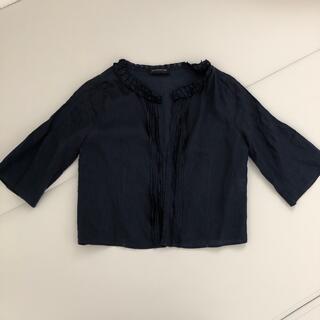 トゥモローランド(TOMORROWLAND)のノーカラー 紺色麻素材アウター(ノーカラージャケット)