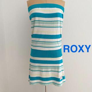 ロキシー(Roxy)のROXY  ベアトップパイルワンピース グリーンランダムボーダー(ミニワンピース)