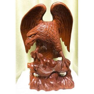 木彫り 鷲(鷹?) 置物 オブジェ(彫刻/オブジェ)