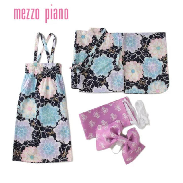 mezzo piano(メゾピアノ)のメゾピアノ 浴衣 mezzo piano ポンポン菊柄 キッズ/ベビー/マタニティのキッズ服女の子用(90cm~)(甚平/浴衣)の商品写真