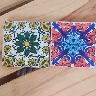 メキシコで購入 小さいタイル④ バラ売り DIYハンドメイド材料 アンティーク調(彫刻/オブジェ)