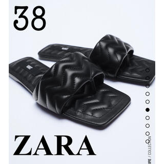 ZARA - 新品!ZARA ザラ キルティング仕上げフラットレザーサンダル 38