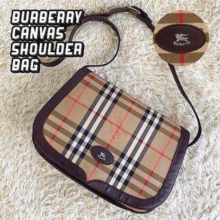 BURBERRY - 美品 バーバリー レザー×キャンバス ショルダーバッグ ノバチェック ブラウン